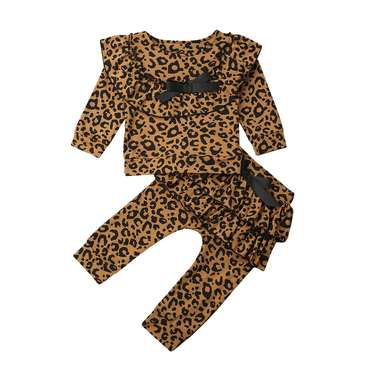 Toddler Baby Fall Clothes Infant Girl Leopard Ruffle Tops Sweatshirt Long Sleeve T-Shirt Pants 2Pc Outfits
