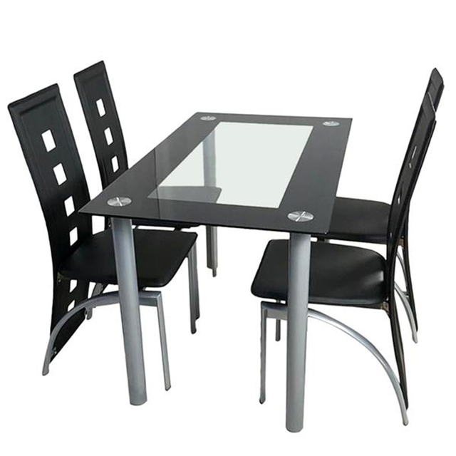 Tempered Glass Dining Table with Chairs  1