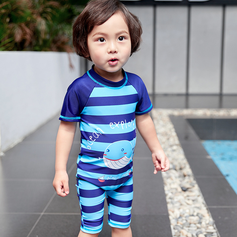 2019 Summer New Style KID'S Swimwear 1-12-Year-Old Children One-piece Stripes Fish Cute Korean-style BOY'S Tour Bathing Suit