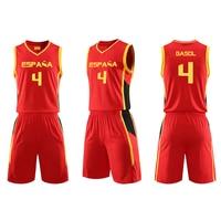 Pau Gasol Jersey Throwback Mens Basketball Suit Set Spain Retro Shirts BASKET Sports JERSEYS Tank Tops Men Women Child Kid Suits