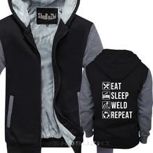 Funny Welding Eat Sleep Weld Repeat pullover For Welders cotton Fashion hoodies Tops StreetWear thick jacket shubuzhi sbz5577