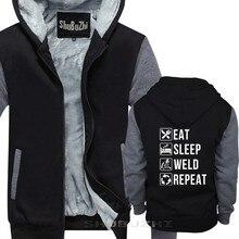 Śmieszne spawania Eat Sleep spoiny powtórzyć sweter dla spawaczy bawełna moda bluzy z kapturem topy StreetWear gruba kurtka shubuzhi sbz5577