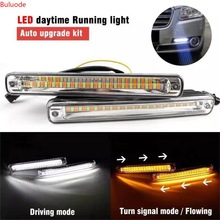 2PCS Newest Sequential Flowing Car LED Daytime Running Light DRL + Yellow Turn Signal Light Super White DRL Fog lamp 12V free shipping 2pcs white yellow light daytime running light drl for honda crosstour 2011 12 p