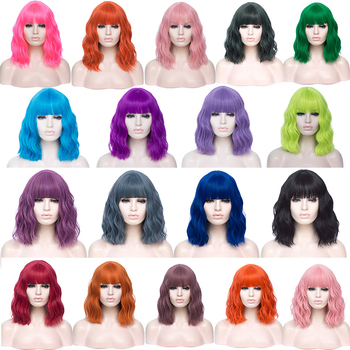 VICWIG Cosplay Wigs for Women Bobo Green Red Blue Purple Orange Black Pink Wig Short Curly Synthetic Wig With Bangs 3 pilot svfm 20ef science calligraphy soft brush pink red orange black blue green writing supplies