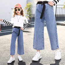 Girls Jeans for Kids Denim Pants Teenage Jeans for Girls Wide Leg Pants 10 12 Year Elastic High Waist Children Trousers Pantalon(China)