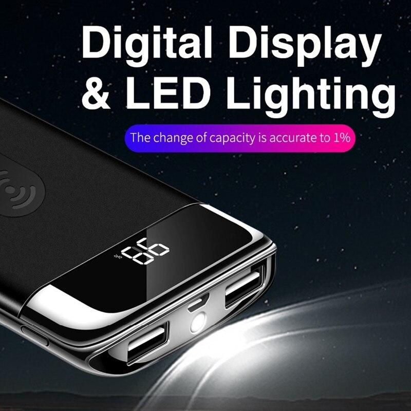 Быстрая Зарядка QI Беспроводное зарядное устройство 30000 мАч для iPhone Samsung mi двойной USB беспроводной внешний аккумулятор устройство повербанк