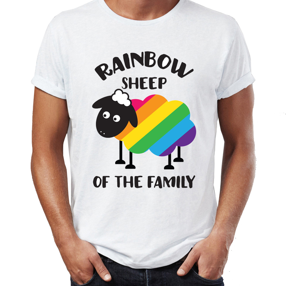 Brand New Men T Shirts 100% Cotton GLBT Gay Pride Unicorn Funny Rainbow Sheep Awesome Artsy Printed O-neck Tee Shirts Oversize