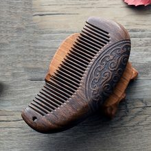 1 Pc/lot Arrival Natural Black Gold Sandalwood Comb Massage Hair Brush Anti-static Hair Styling Tool Carved Double Engraved(China)