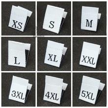 500 шт папка черно-белая тканая одежда Размер вкладки этикетки XXS XS S M L XL XXL 3XL 4XL тканая одежда размер одежды