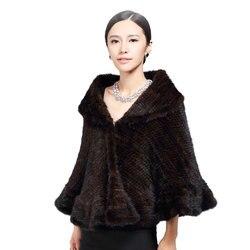 GLAFORNY Genuine Knitted Mink Fur Shawl/Wrap/Cape  /Women thickening mink fur coat big size lady luxury mink fur shawl knitting