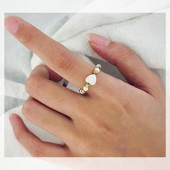 Pierścionek z perłą ze złotym kolorem srebrnym koralik ze stali nierdzewnej stalowe pierścienie dla kobiet pierścień z sercem pierścionek zaręczynowy prezent na rocznicę biżuterii tanie i dobre opinie MOMIJI CN (pochodzenie) STAINLESS STEEL Kobiety Kamień BOHEMIA Obrączki ślubne Nieregularne Brak moda Rocznica Pierścionki