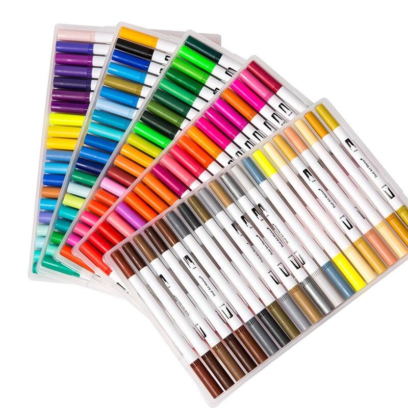 100 cor aquarela caneta marcador duplo headed caneta 04