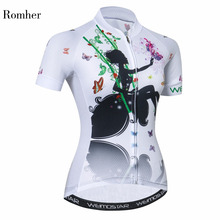 Romher Cycling Jersey Women Bike Jerseys 2019 Road MTB Bicycle Clothing Short Sleeve Ropa Ciclismo Maillot White Racing Top