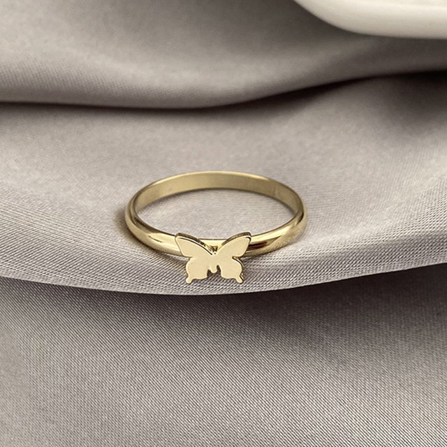 Punk Simple Style Lovers Butterfly Opening Ring Creative Women Gold Silver Color 2-Piece Ring Jewelry Gifts For Good Friends 6