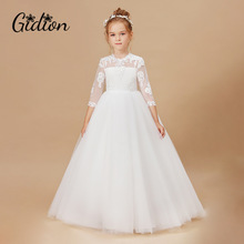 Dress Girls Birthday-Party Wedding White Baby Princess Kids Children 2-14T Appliques