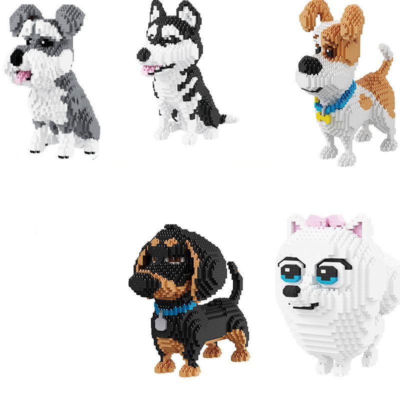 Cartoon Dog Mini Block Set Jack Russell Terrier Poodle Dachshund Corgi Husky Pug Model Kids Building Brick Toy