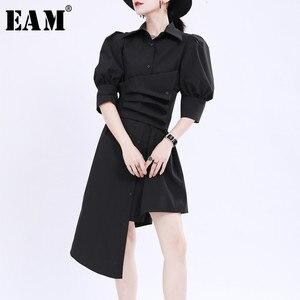[EAM] Women Black Pleated Irregular Big Size Shirt Dress New Lapel Long Sleeve Loose Fit Fashion Tide Spring Summer 2020 1U180