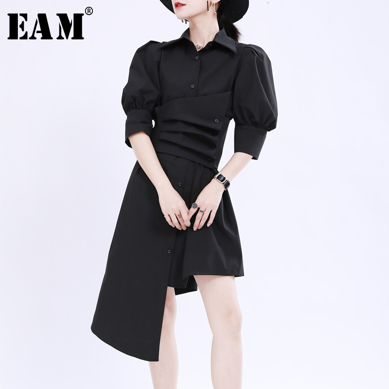 [EAM] Women Black Pleated Irregular Big Size Shirt Dress New Lapel Long Sleeve Loose Fit Fashion Tide Spring Summer 2020 1U180