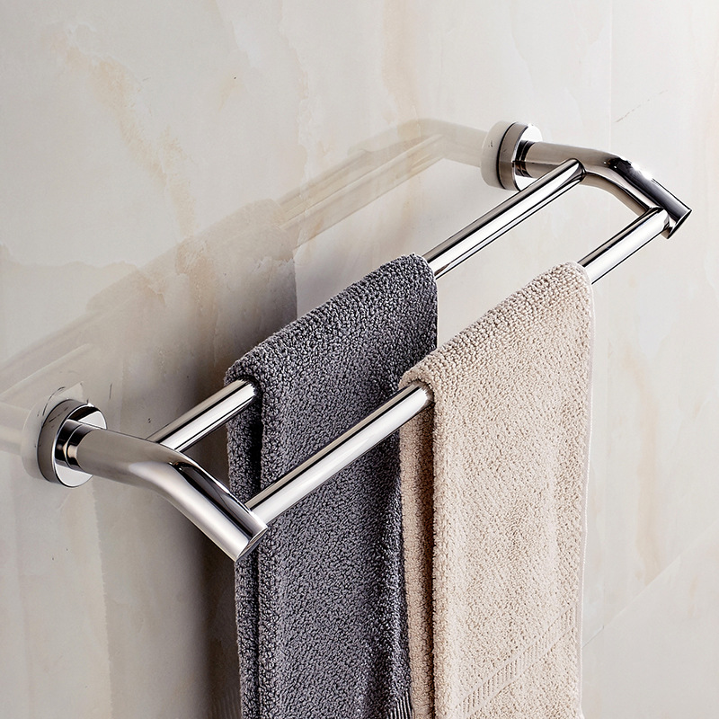 A Generation Of Fat Stainless Steel Towel Single Bar, Parallel Bars Hole Punched Toilet Wall Hangers Kitchen Hanging Rod Hardwar