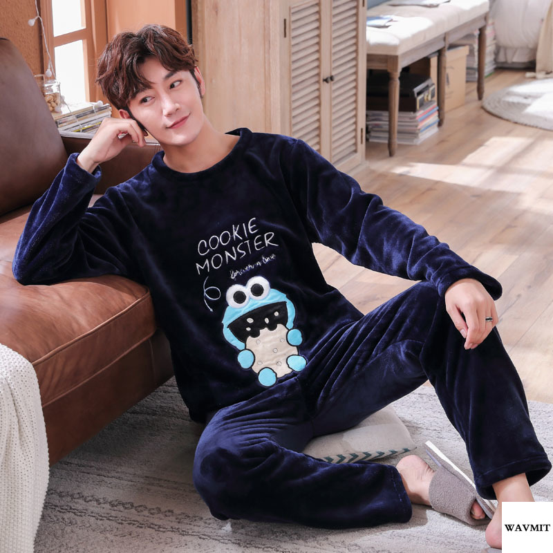 Big Size 3XL 4XL 5XL 95kg Sleepwear Long Sleeve Winter Warm Flannel Pajamas Sets Print Long Pant Male Pyjama Set Leisure Outwear