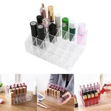 24 Grid Lipstick Rack pp Plastic Transparent Trapezoidal Nail Polish Lipsticks Holder Desktop Cosmetic Display Stand Makeup Case(China)