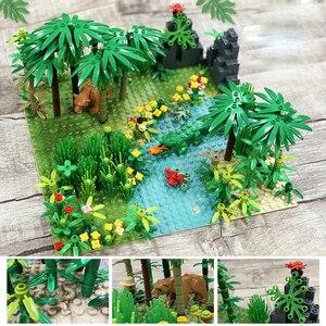 Image 3 - 32*32Dots Classic Base Plates Tropical Rainy Climate Green Jungle Building Blocks Rainforest Animal Grass Tree MOC Kids Toy Gift