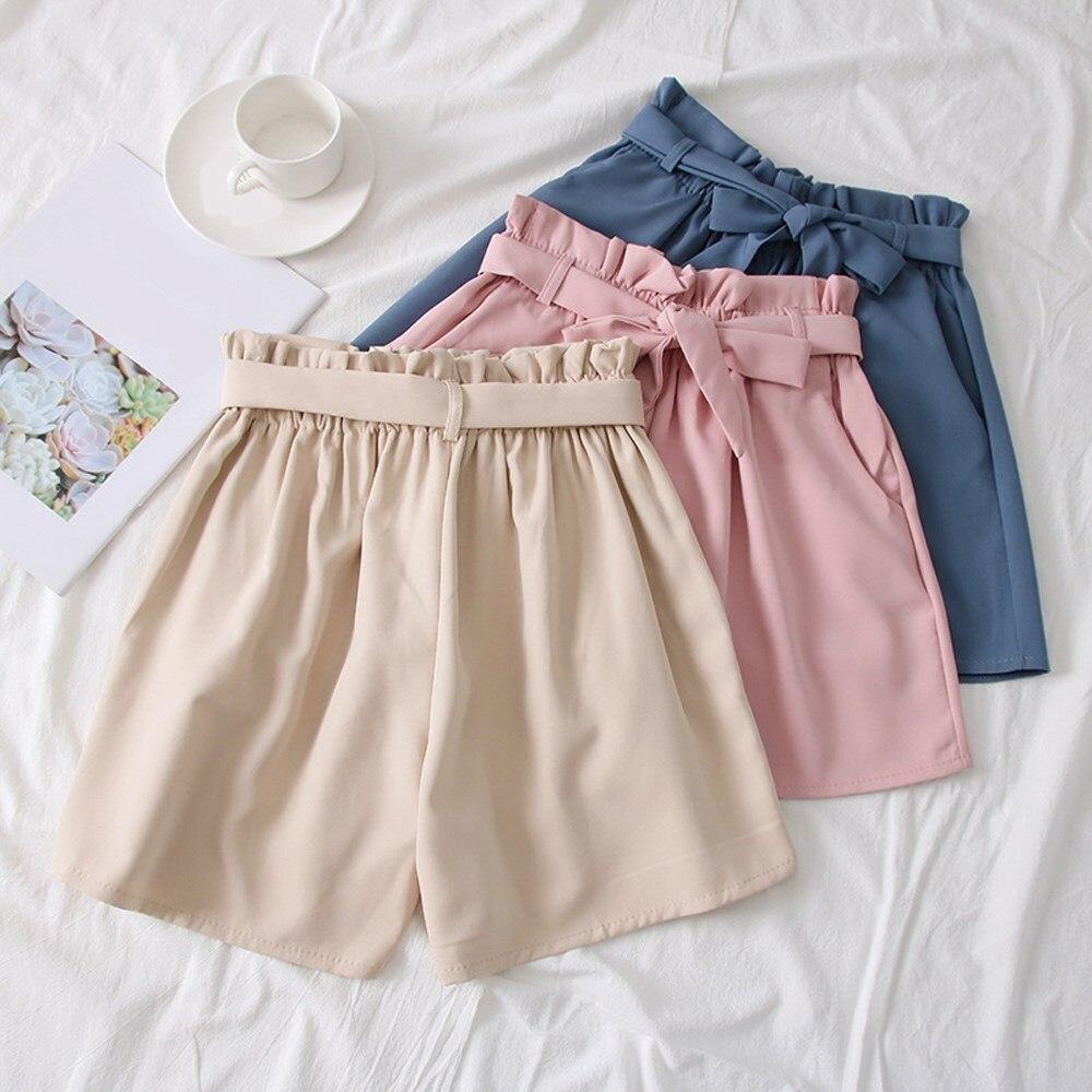 Bella Estate Della Cinghia Delle Donne pantaloni Larghi del Piedino shorts Coreano A Vita Alta Arco Allentato shorts Lace Up Solid casual shorts - 4
