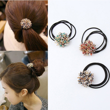 South Korea hair color crystal beaded small band rubber rope headdress accessories