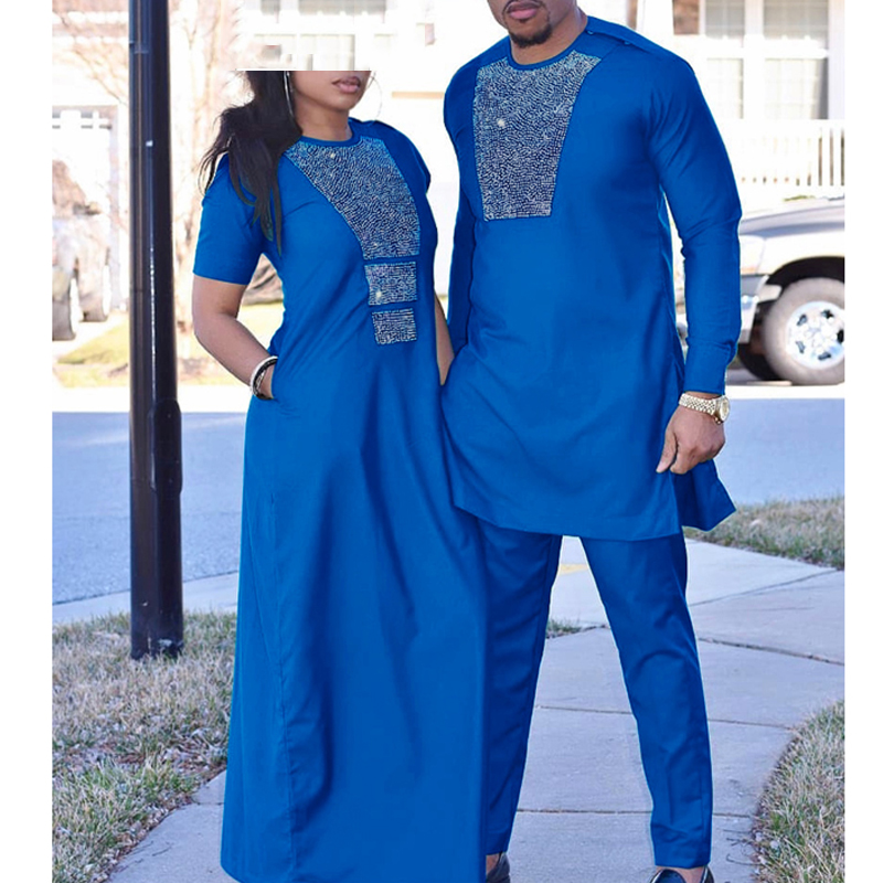 H&D African Couple Clothes Suits Long Dresses For Women African Men Dashiki Shirt Pant Set 2019 New Clothing With Shining Stones