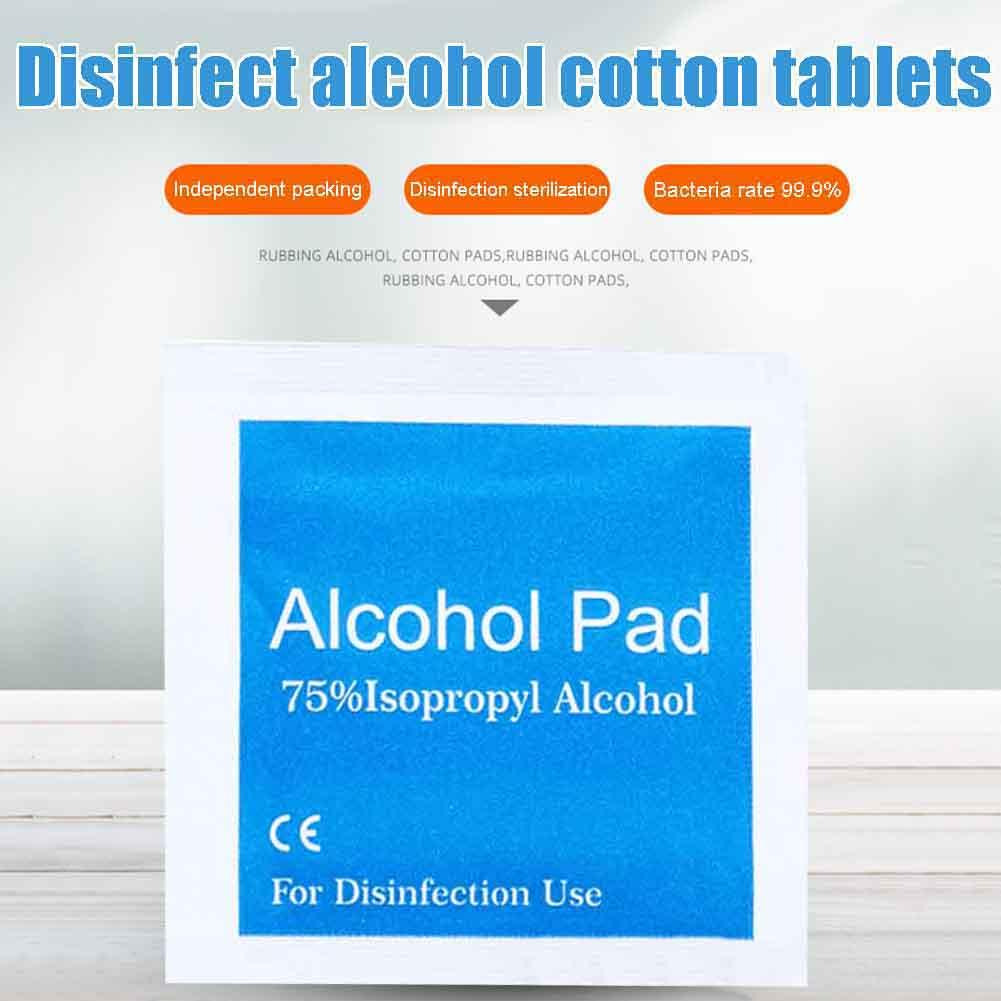 100/200Pcs Disposable Wound Phone Disinfection Alcohol Swab Pads Wipes Cleanser Home Cleaning Bacteria Disinfection Wipes