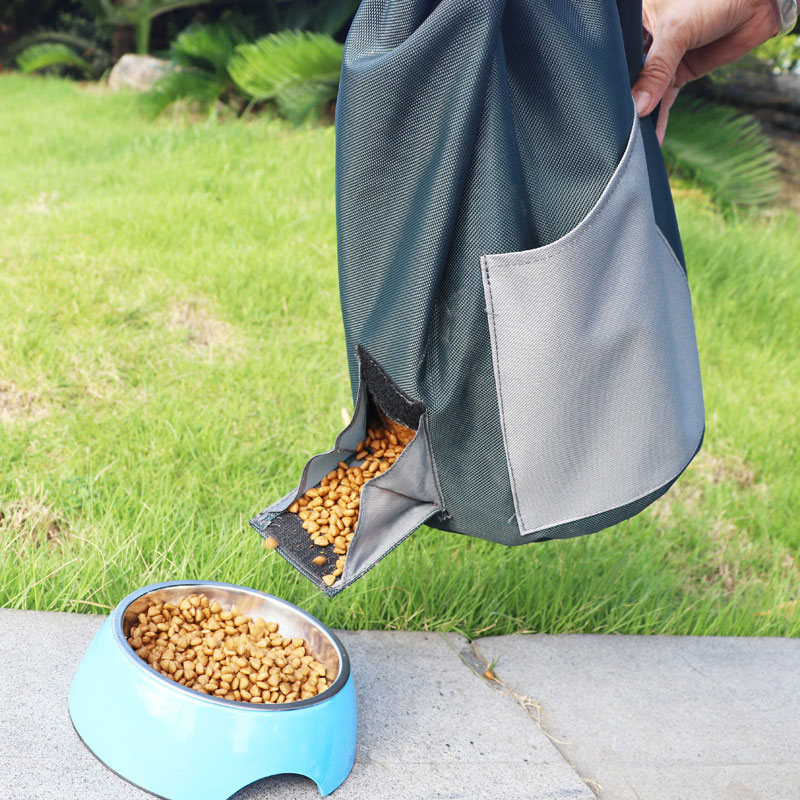 Oxford Foldable Dog Food Bucket Outdoor Large Capacity Durable Light Cat Dog Pet Storage Grain Barrel Grain Bag image