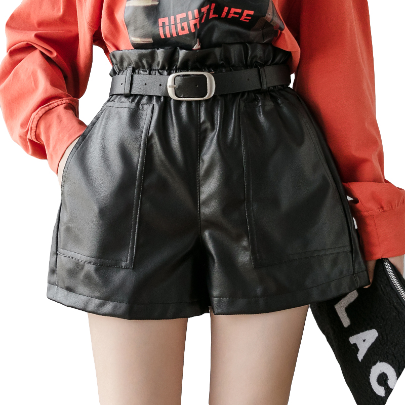 PU Leather Wide-legged Shorts Autumn Winter Women Belted Elastic High Waist Ruffles Shorts A-line Faux Leather Shorts Bottoms