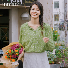 Inman 2020 primavera nova chegada literária impresso algodão renda gola aberta single breasted manga comprida blusa