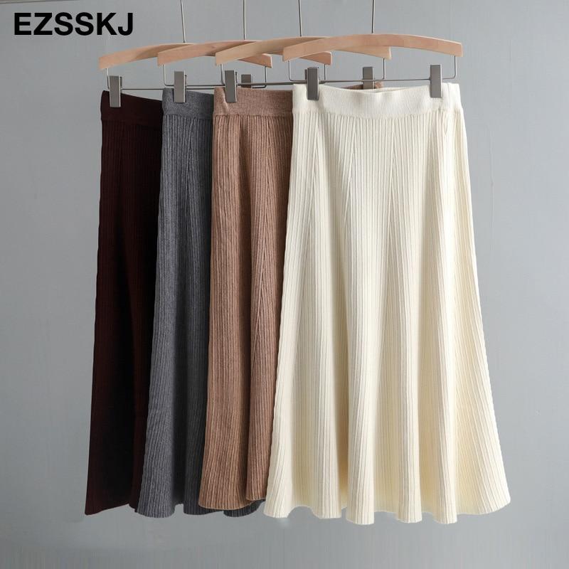 2019 New Chic Autumn Winter Women Long Sweater Umbrella Skirt Casual Basic Knitted A-line Skirt Female Solid Elegant Skirts