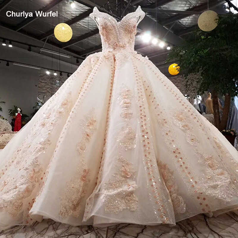 LSS001 Luxury wedding dress beading ball gown off the shoulder lace up flowers bridal gowns cathedral train real photos