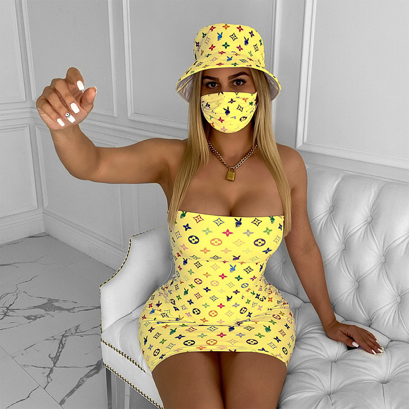 Women Sexy Sleeveless Slip Bodycon Dress Printed Wrap Party Club Mini Dresses With Cap And Mask 3Pcs Set  Sexy Dresses