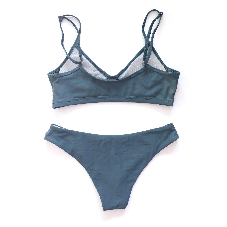 Sexy Solid Thong Brazilian Push Up Bikini Set 2020 Swimsuit Women Swimwear Beach Wear Swim Bathing Suit 5