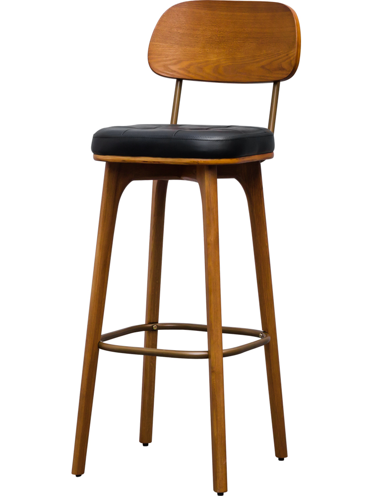 Nordic Front Desk Creative Bar Chair Bar Stool Solid Wood Simple Modern Backrest Home Restaurant Cashier High Stool Bar Chair