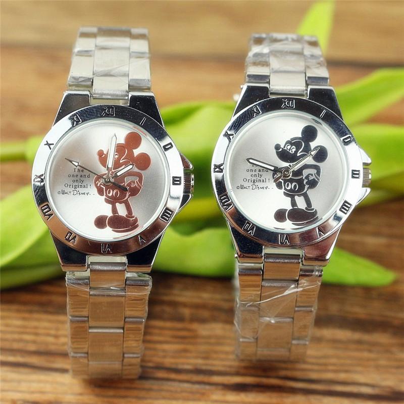 Disney Mickey Mouse Minnie Kids Student Cartoon Watch Aolly Steel Quartz Watches Clock For Boys Girls Gift