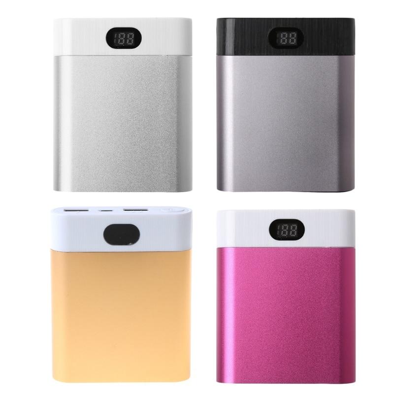 2 USB Ports 4x 18650 DIY Portable Battery Holder LCD Display Power Bank Case Box X6HA