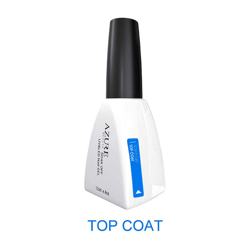 Azure Kecantikan 12 Ml Gel Polish Gel Nail Polish Rendam Off Lem Kuku Base Coat + Top Coat Set Primer gel Varnish Rendam Off UV LED Gel