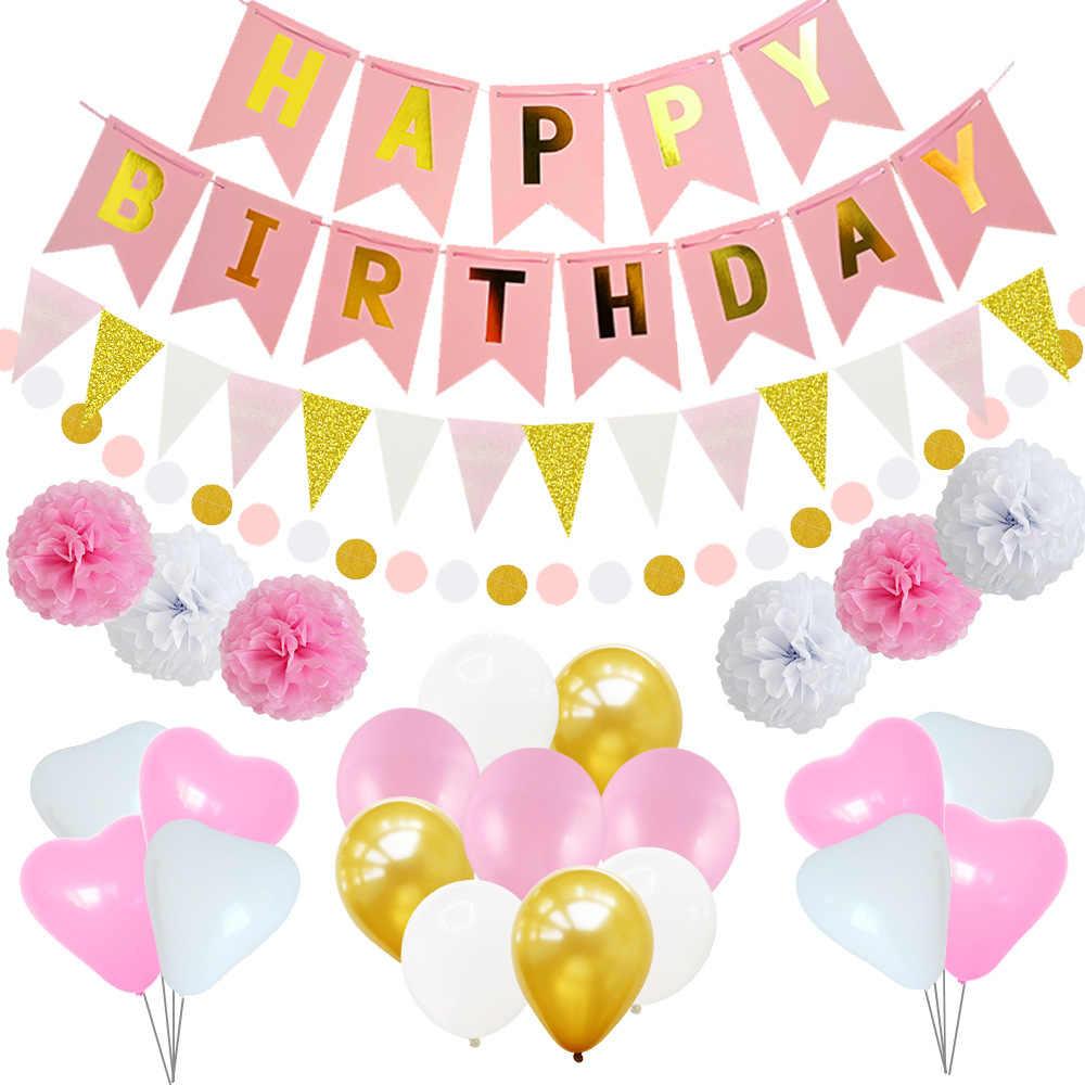 Globo de cumpleaños combinación Rosa cola de pez bandera colgante Triangular conjunto de 12 pulgadas círculo forma de corazón globos de caucho