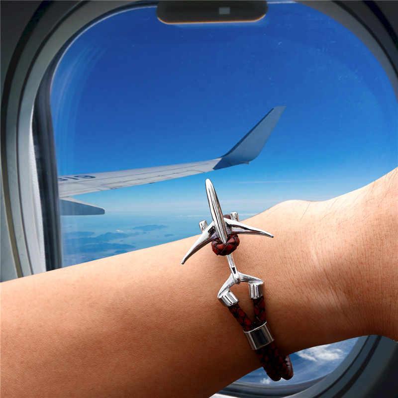 MKENDN チタンステンレス鋼飛行機アンカーブレスレット男性多層編組本革ブレスレット女性友情ギフト