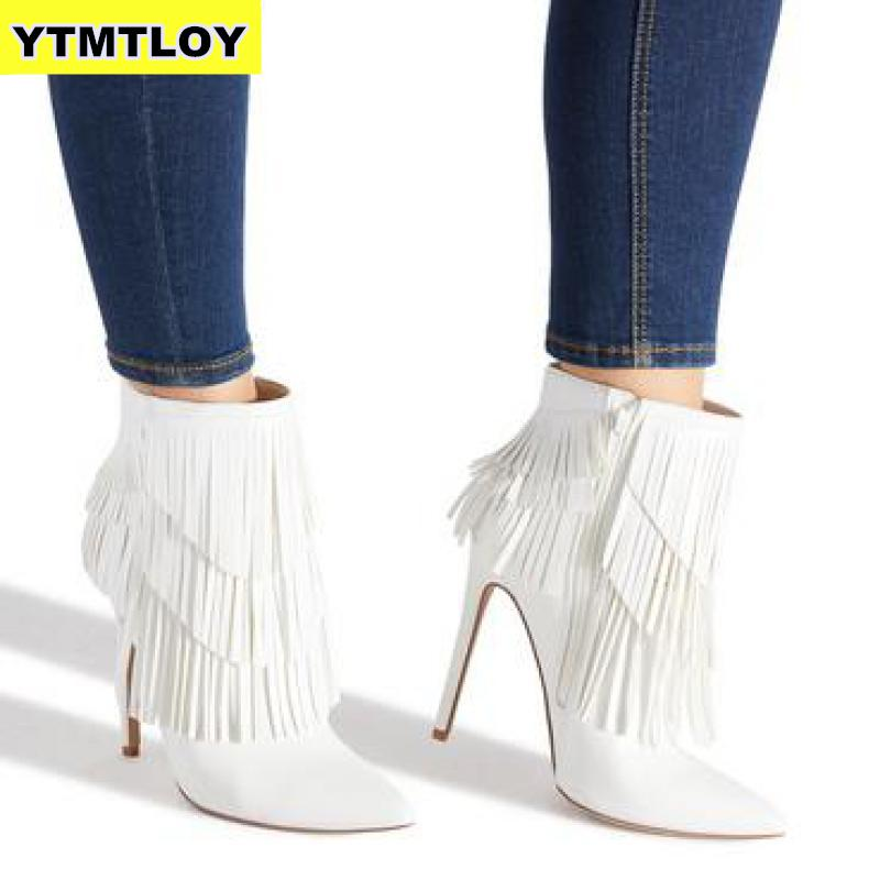 Hot Selling Tassel Ankle Boots For Women Stiletto High Heels Autumn Winter Handmade Women Boots Fringed Pointed Toe Botas Mujer