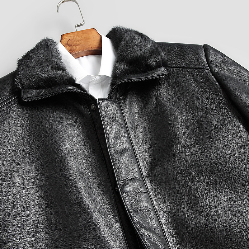 Real Fur Coat Men Sheepskin Genuine Leather Jacket Men Mink Fur Winter Coat Korean Mens Leahter Jacket Casaco 873 YY1038
