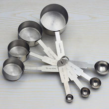 8 Pcs Cooking Set Stainless Steel Kitchen Tools Measuring Cups Stylish Spoons Handle Baking(China)