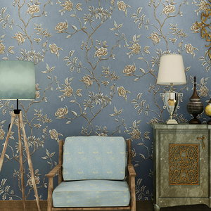 Image 2 - ירוק טורקיז פרחוני מובלט טפט לחדר שינה סלון קירות Romatic אדום פרח קיר נייר בית תפאורה בז
