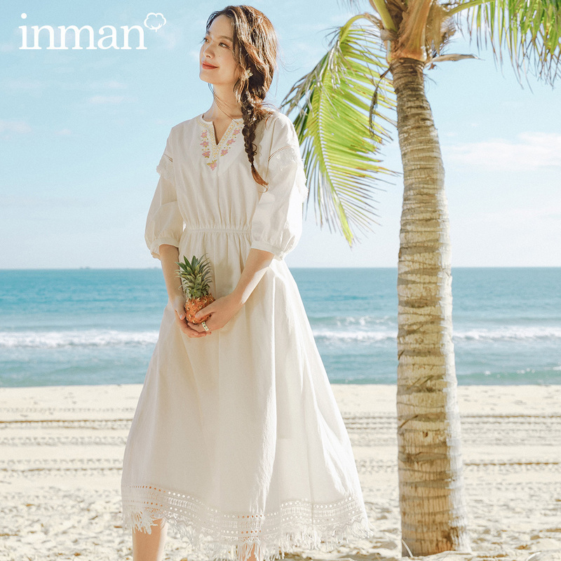 INMAN 2020 Summer New Arriavl Embroidered Tassel Retro Nipped Waist Slimmed Dress
