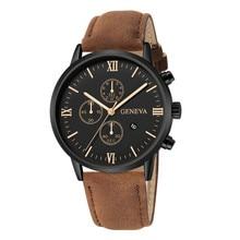 Fashion Geneva Men Date Alloy Case Synthetic Leather Analog Quartz Sport Watch