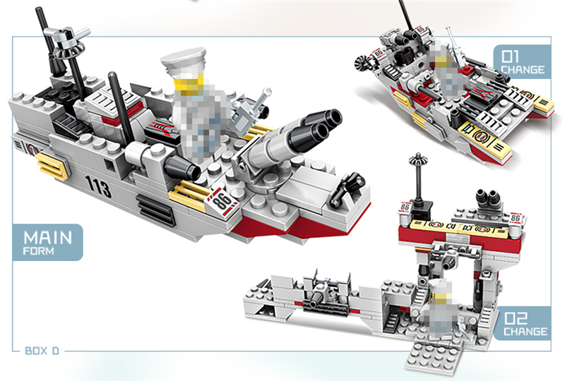 1000+ PCS Military Warship Navy Aircraft Army Figures Building Blocks LegoINGlys Army Warship Construction Bricks Children Toys (11)